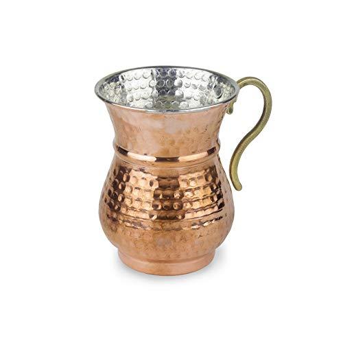 Tazza di Rame: Tazza in Rame Martellato per Ayran | Tazza Turca in Puro Rame per Bevande Fredde | Goditi l'Ayran in una Tazza Fatta a Mano in Puro Rame (300 ml)