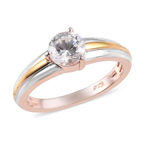 J Francis Solitaire Ring Made with Swarovski Zirconia for Women in Platinum, Yellow Gold and Rose Gold Plated 925 Sterling Silver Christmas Gift/Engagement Jewellery Size S, TCW 0.84ct