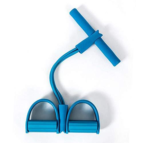 Banda de Resistencia de Pedal, expansor de Culturismo de 4 Tubos de látex Natural con manija, Cuerda de tracción elástica Equipo de Ejercicios para Abdomen Yoga de Brazo de Cintura,Azul