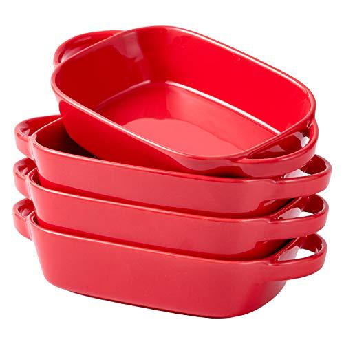 Bruntmor Set Of 4 Ceramic 7'x5' Baking Dish Oven Safe Roasting Lasagna Pan Small Casserole Bakeware with Handle Rectangular Dish, 20 Oz. Red
