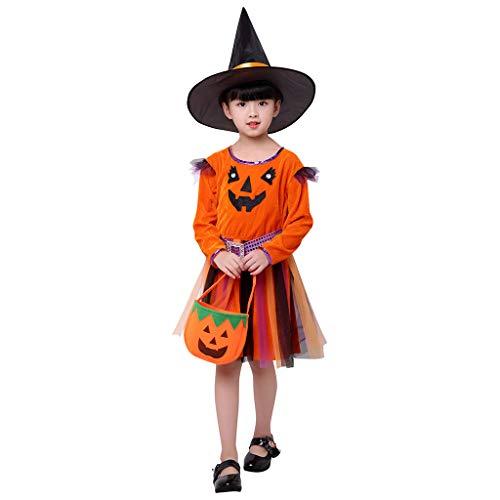 Proumy Kinder Mädchen Halloween Kleidung Set Kleinkind Kürbis Striped Print Langarm Halloween Kleid+Hut Outfit +Kürbis Tasche(Orange,Recommended Age:14-15 Years)