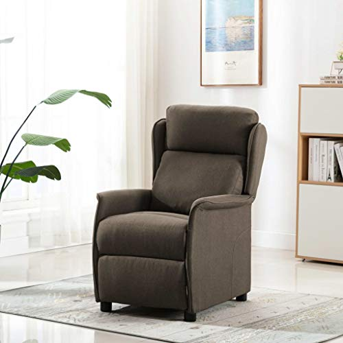 UnfadeMemory Push Back Massagesessel Stoff Fernsehsessel Verstellbare TV-Sessel Relaxsessel Entspannungssessel mit Massage und Heizung Funktion 68x98x100 cm (Taupe)