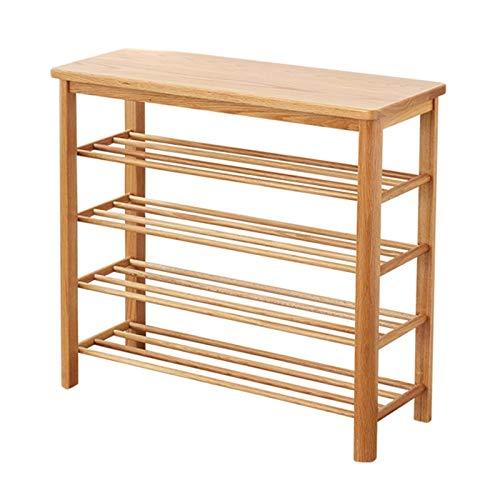 LYLY Zapatero de 2/3/4 niveles, organizador de zapatos de madera, estante de almacenamiento multiusos para entrada/pasillo/sala de estar/armario zapatero (color: madera (4 niveles), tamaño: 60 cm)
