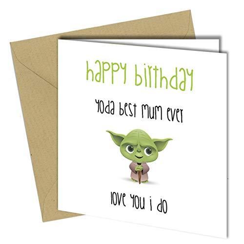 #501 YODA Best Mum Geburtstagskarte, lustig, lustig, 15,2 x 15,2 cm