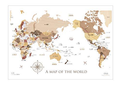 寄木風の木目がおしゃれな「世界地図」ポスターB2サイズ ソノリテ
