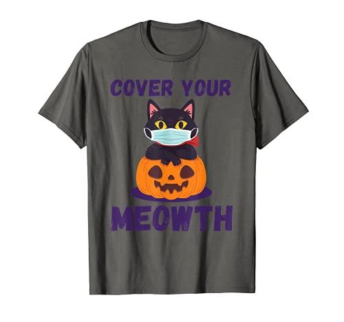 Cover Your Meowth Divertidos disfraces de Halloween Máscara Camiseta
