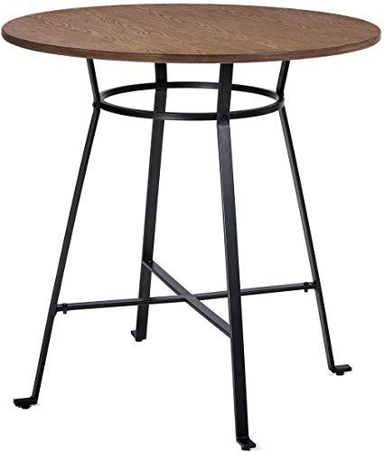 D-Z Klapptischhöhe Retro Rustikaler Pub-Stehtisch Runder Holztisch mit Schweren Metallbeinen Tisch im Nordischen Stil Wohnzimmertisch und Stuhl