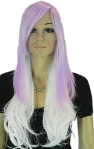 Qiyun Longue Violet Blanc Argent Mixte Complete Cheveux Cosplay Anime Costume Perruque