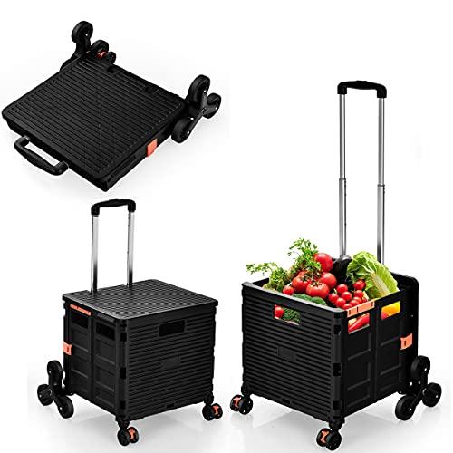 RELAX4LIFE Einkaufstrolley klappbar, Einkaufswagen 3 einstellbare Höhe, Einkaufskorb mit 8 Rädern, Einkaufskorb mit Deckel & Teleskop-Griff, für Reisen & Einkaufen, aus Kunststoff & Alu (Schwarz)