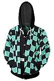 Kamado Tanjirou Hoodies Cosplay Costume Zip up Jacket Sweatshirt Top (M, Kamado Tanjirou)