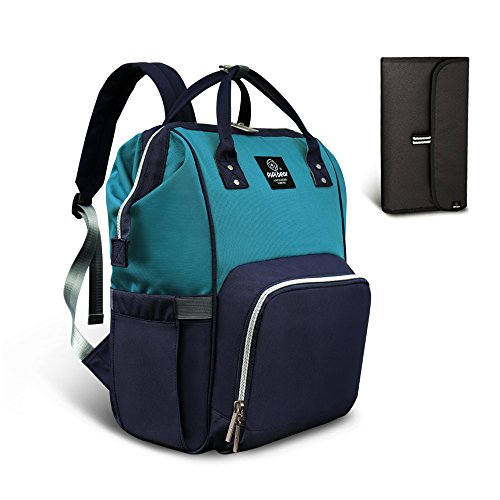 HEYI Multi-Function Nappy Changing Bag,Waterproof Diaper Bag Backpack with Large Capacity Mum Traveling Bags (Lake Blue-Navy)