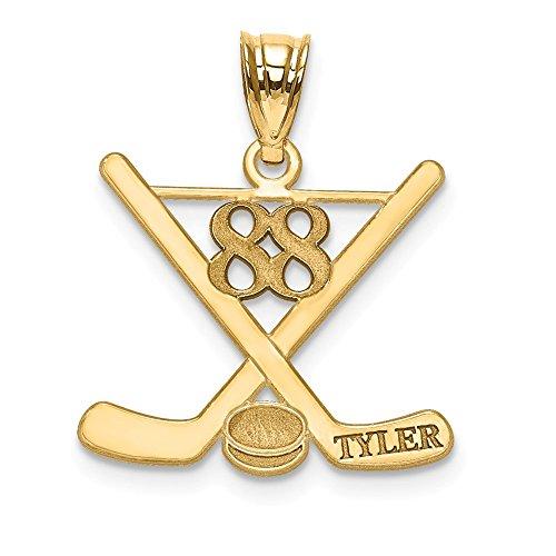 Saris and Things 925 Sterling Silber vergoldet Laser poliert Name und Nummer Hockey anhänger in Form von