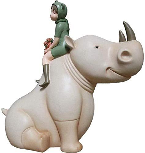 Escultura Artículos Decorativos Animal Jardín Estatua Rinoceronte Libro para Niños Muebles De Habitación Decoraciones De Escritorio Adornos Pequeños