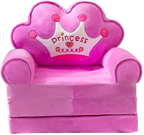 TOY Kids Sofa Bed Plush Foldable Children Sofa Kids Sofa Backrest Chair Cute Fold Out Sofa Bed Folding Couch for Playroom Bedroom Living Room Children's folding sofa,Pink ( Color : Purple )