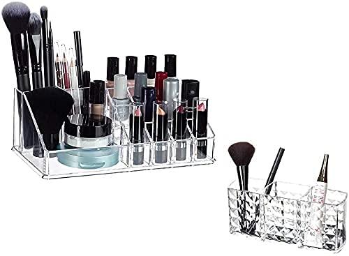 erddcbb Joyero Caja de Almacenamiento de cosméticos para Mujeres Acrílico Organizador de cosméticos Kit de Maquillaje para lápiz Labial, Esmalte de uñas, Utensilios cosméticos, Estándar Transparente