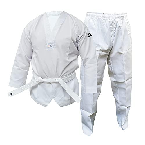 adidas WT Taekwondo Estudiante Dobok Sin Rayas Artes Marciales WTF Uniforme Infantil, Blanco, 120 cm
