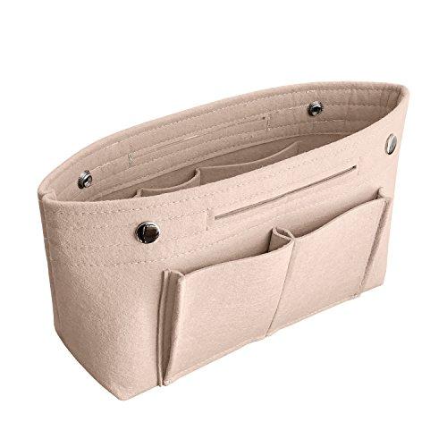 APSOONSELL Bag in Bag Handtaschen Organizer Filz, Taschen Organisator für Handtaschen, Innentaschen für Handtaschen, Beige, Groß (30 x 18 x 12 cm)
