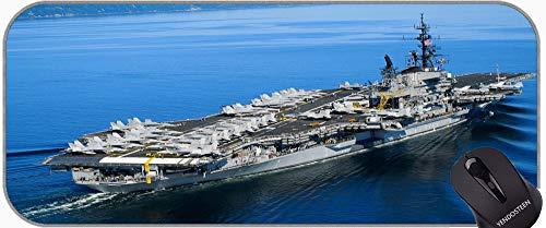 Almohadilla de Teclado de la Almohadilla de Escritorio, portaaviones USS Midway Buque de Guerra Estera con Borde Cosido