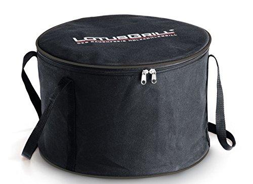 41RiqXMGh6L - LotusGrill Starter-Set 1x Grill Feuerrot mit USB-Anschluß, 1x Buchenholzkohle 1kg, 1x Brennpaste 200ml, 1x Würstchenzange (Farbe nach Vorrat), 1x Transport-Tragetasche - der raucharme Holzkohlegrill