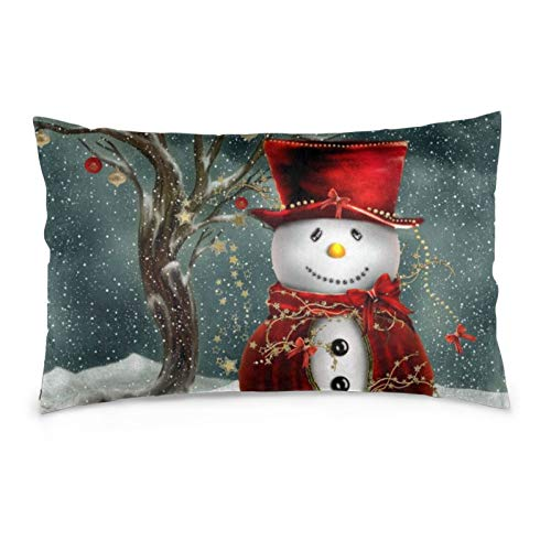 Funny Pillow Case, Winter Snowman Pillowcase, Rectangle Zippered Pillow Cases - Pillow Protector Cover Case - Standard Size 20'(L) X 30'(W)