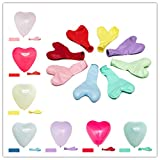 BARTIDO 100 Assorted Color Balloons Bulk, 10 Inches Love Heart Shaped Pack of Strong Latex Balloons for Wedding Valentine's Day Ceremony Birthday Party Supplies or Arch Decor Decorations