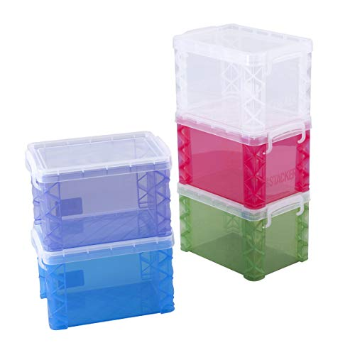 Super Stacker (1) 4 x 6 Inch Index Card Box, Assorted Colors, 1 Box