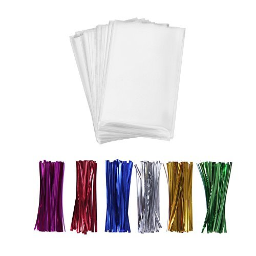 """200 Treat Bags with 200 4"""" Twist Ties 6 Mix Colors - 1.4mils Thickness OPP Plastic Bags (4'' x 6'')"""