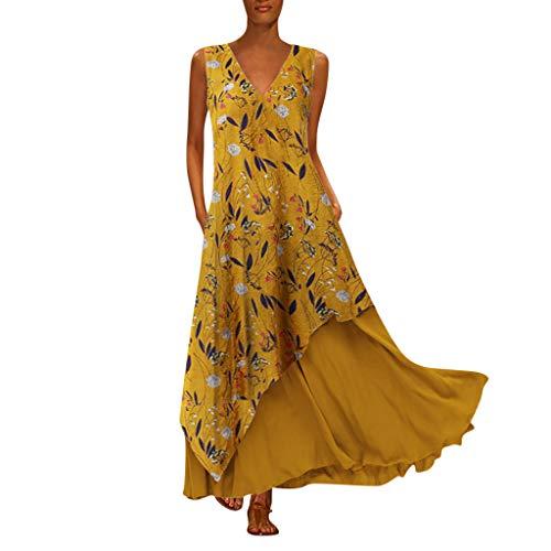 Vovotrade zomerjurk dames lange jurk grote maten, vrouwen gedrukt mouwloos O-hals maxi-jurk zoom Baggy Kaftan lange jurk maxi-jurk strandjurk tuniek jurk etui jurk