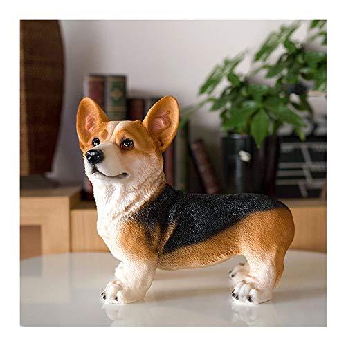 Simulación de resina perro animal escultura artesanía corgi perro decoración hogar vino gabinete decoración 18 * 26 * 28 cm, A