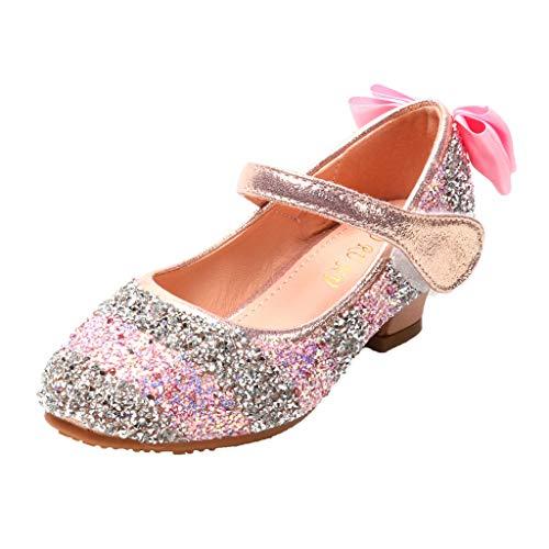 Harpily Scarpe da Ballo Bambina Glitter Scarpe da Principessa da Ceremonia Eleganti per Bambina Ragazza EU28-33 Scarpe da Bambina Sportive con Tacco 3 (30 EU, Rosa)