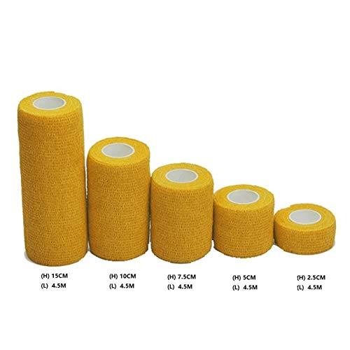 xingyu Útil Terapia del Cuidado de la Salud 6 Pack Autoadhesivo Vendaje enrollar Cinta Impermeable y Transpirable Cinta elástica cohesiva (Color : Yellow, Size : Width 2.5cm)
