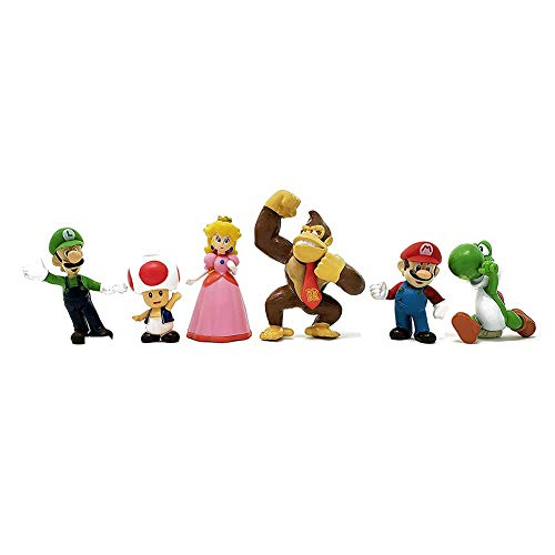 Mario cake topper cake toppers figures Characters set of 6 Action Figure Toys Mario cake decorations