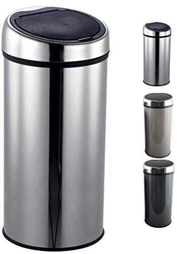 MSV Design Poubelle à pédale avec Seau intérieur Anti-odeurs 30 l avec Fonction Touch Automatique et Seau intérieur Argent