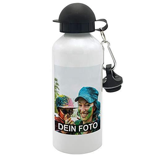 Trinkflasche mit eigenem Foto gestalten, 600ml, weiß | Flasche mit individuellem Bild Bedruckt, inkl. Mundstück und Karabiner