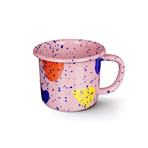 YHshop Taza de café Esmalte 300ml Taza De Los Niños Taza Taza Taza De Bebida De Esmalte Personalizada Taza De Bebida Taza De Té Blanco/Rosa/Verde/Azul Taza de Agua (Color : Pink)