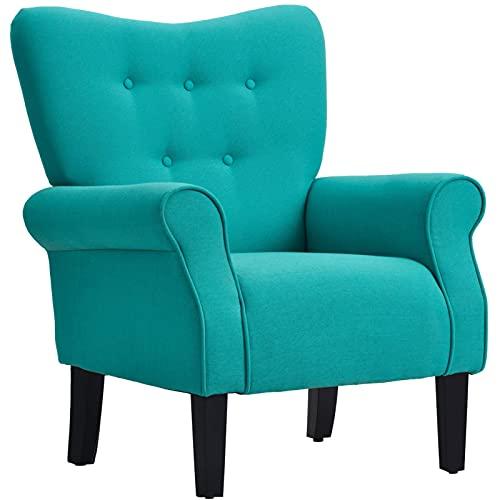 Sedia Blu Perfetta e Unica, innovativa con Accento di Ala indorse con Gambe in Legno Cuscino da Salotto con braccioli rotanti Reclinabile Liscio e Rilassante (Colore: Germano Reale)