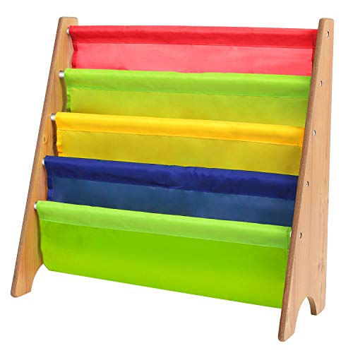 Homfa Kinder Kinderregal Bücherregal Hängefächerregal Holz Kinderzimmerregal mit 4 fächer 62x26.5x61cm