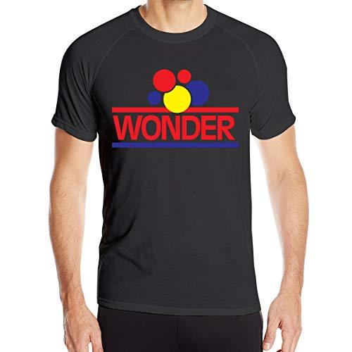 Yearzimn Men Wicking T Shirt 3D Print of Wonder Bread Round Neck Short Sleeve T-Shirts XXL Black