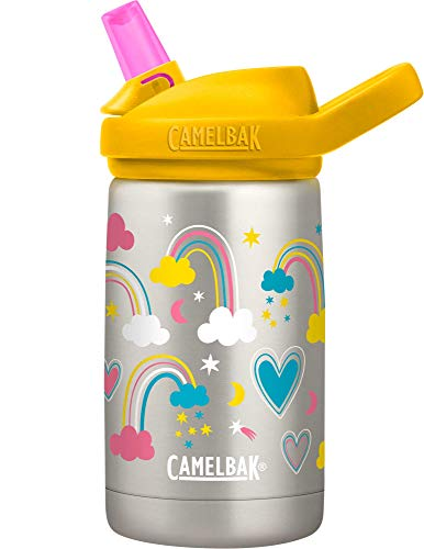 CamelBak Eddy+ Kids Water Bottle, Vacuum Insulated Stainless Steel with Straw Cap, 12 oz, Rainbow Love - Spill-Proof When Open, Leak-Proof When Closed
