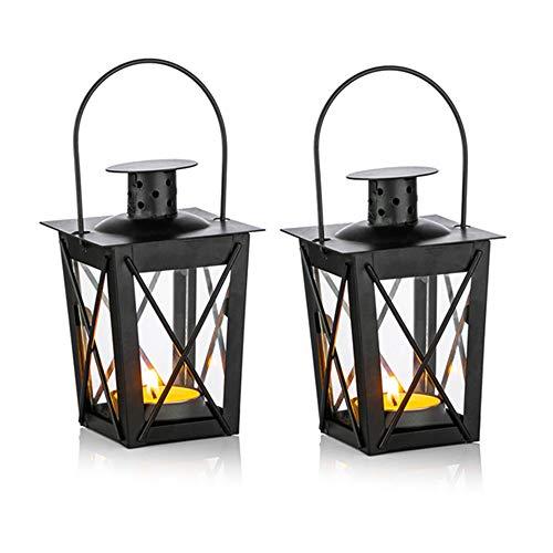 Nuptio 4 st lyktor för ljus, vintage svart metall mini dekorativa ljuslyktor värmeljus ljushållare & LED värmeljushållare dekoration för födelsedagsfest bröllop trädgård mittpunkt