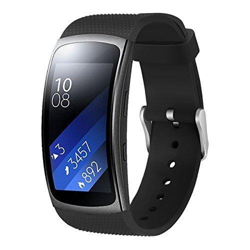Aimtel Ersatzarmband Kompatibel mit Samsung Gear Fit 2 Armband & Samsung Gear Fit 2 Pro Uhrenarmband, Weiche Silikon Sport Ersatz Armband(Schwarz)