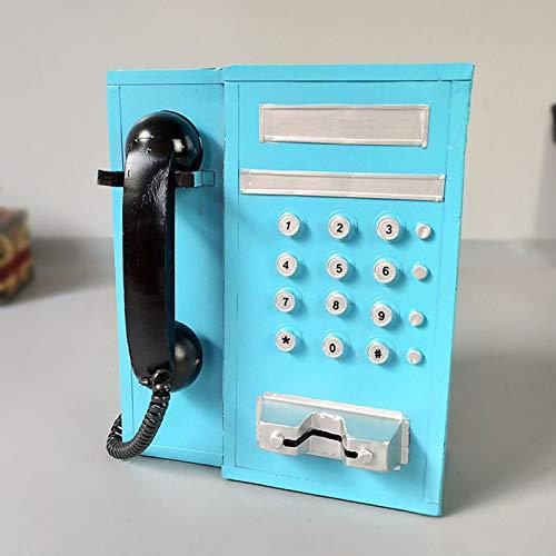GERUOLA Teléfono Retro Vintage,Cable Teléfono Antiguos,Hogar Teléfono Fijo,Teléfono De Diseño Antiguo Elegante,Década De 1920 Hogar Accesorio Fijo Ornamento,como Decoración,Azul