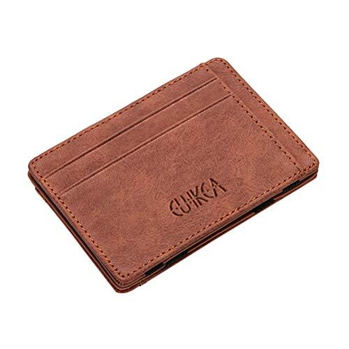 TENDYCOCO Kartenhalter Magische Brieftasche Pu-Leder Geldbörse Brieftasche Schlank Kredit ID Karte Lagerung Zauberrequisiten Brieftasche (Kaffee)