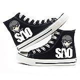 MAZF Zapatos de Lona Sword Art Online High Gang Unisex Zapatos Cordón Diarios de los Zapatos Transpirables Salvajes Zapatos de Lona Animado Impreso-36