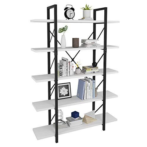 YITAHOME 5 Tier Bookcase Artsy Modern Bookshelf Book Rack Storage Rack Shelves in Living RoomHomeOffice Books Holder Organizer for BooksMovies - White