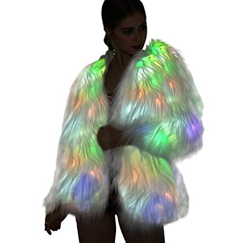 Led Fur Coats For Women - Men Neon Light Up Jacket White Glow Faux Fur Costume For Halloween Christmas Edc Rave Party Burning Man Outfit Clothing
