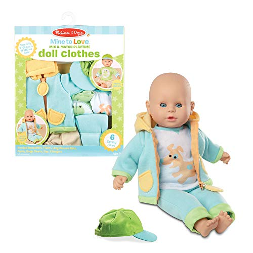 """Melissa & Doug 31719 Mine to Love Mix & Match Playtime Doll Clothes for 12""""-18"""" Unisex Dolls (6 Pieces, Great Gift for Girls and Boys - Best for 3, 4, 5 Year Olds and Up), Multicolor"""