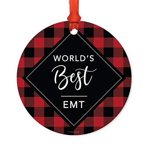 Andaz Press Funny Round Metal Christmas Ornament, World's Best EMT, Modern Buffalo Red Black Plaid, 1-Pack, for Coworker Friend Spouse Him Her, Includes Ribbon and Gift Bag