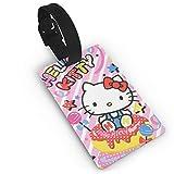 DNBCJJ Etiquetas de equipaje para maletas Hello Kitty se sienta en la tarta de cumpleaños etiqueta de equipaje, con nombre ID maleta para mujeres, hombres, niños, accesorios de viaje