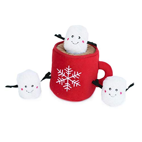 ZippyPaws Holiday Burrow Interactive Dog Toys - Hide and Seek Dog Toys and Puppy Toys, Colorful Squeaky Dog Toys, and Plush Dog Puzzles, Hot Cocoa and Marshmallows